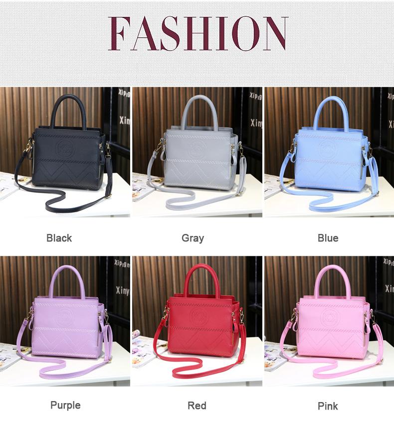 Korean Style New Fashion Handbag Famous Brand Embossing Ladies PU Leather Shoulder Bag Side Zippers Women Designer Crossbody Bag