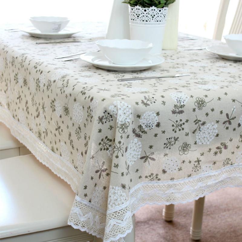 vintage dandelion printed linen table cloth hot sell. Black Bedroom Furniture Sets. Home Design Ideas