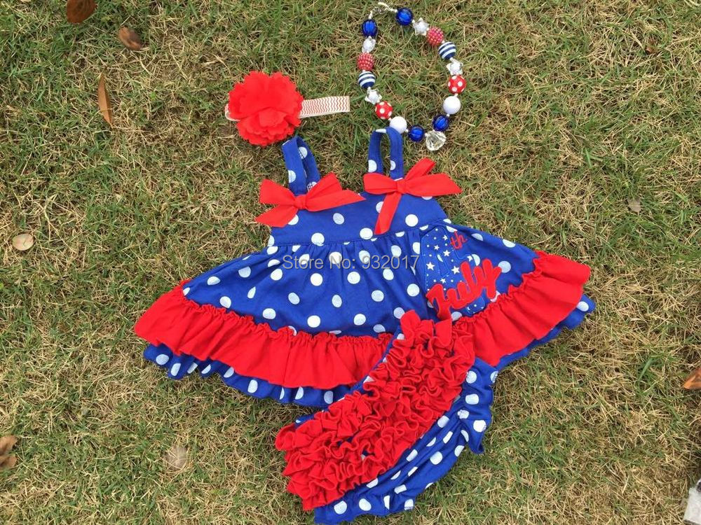 2015 new design baby girl white polka dot 4th July swing set matching headband necklace - Princess and Pea store