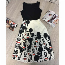 2016 summer new cartoon dress women girls maxi long dress high waist casual dress family look