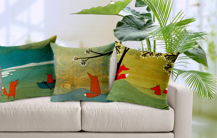 Aliexpress.com : Buy Free Shipping Couple small red fox Decorative Cushion Cover Throw Pillow ...