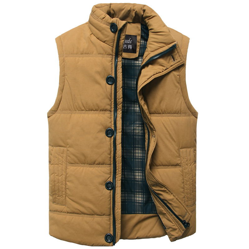 Autumn Winter Fashion Casual Tank Top Men Stand Collar Cotton-padded Thick Slim Fitness Sleeveless Jacket Men's Vest Waistcoat