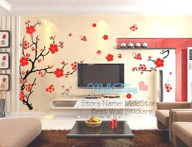 Diy vinilos paredes flower tree wall sticker big sofa tv for Home decor 2 love