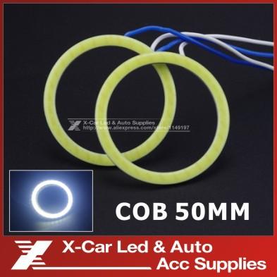 2Pcs/Lot 50mm COB Angel Eye LED DRL Chip Car Light Super Brightness Waterproof Auto Headlight Car light Source White/Blue/Red(China (Mainland))
