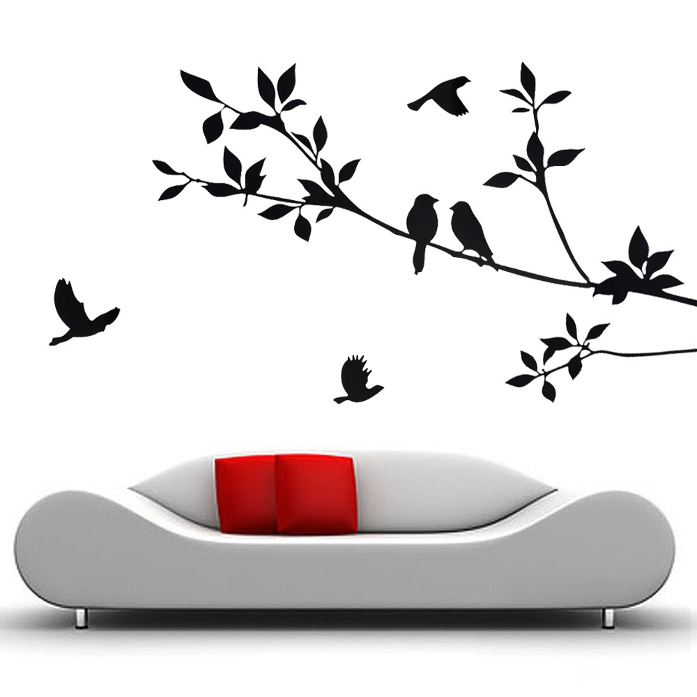 Tree and Bird Black wall stickers for kids rooms home decor Removable Mural Art Decal bed room home(China (Mainland))