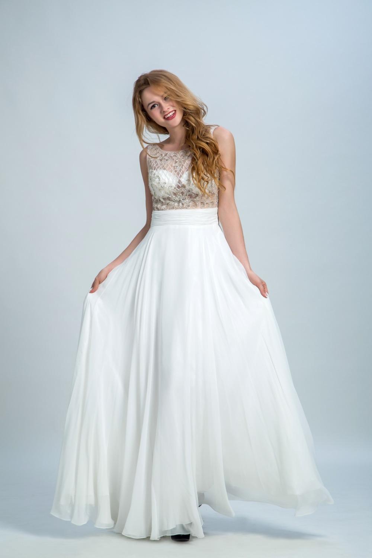 Elegant White Sleeveless Straight Long Prom Dresses Top