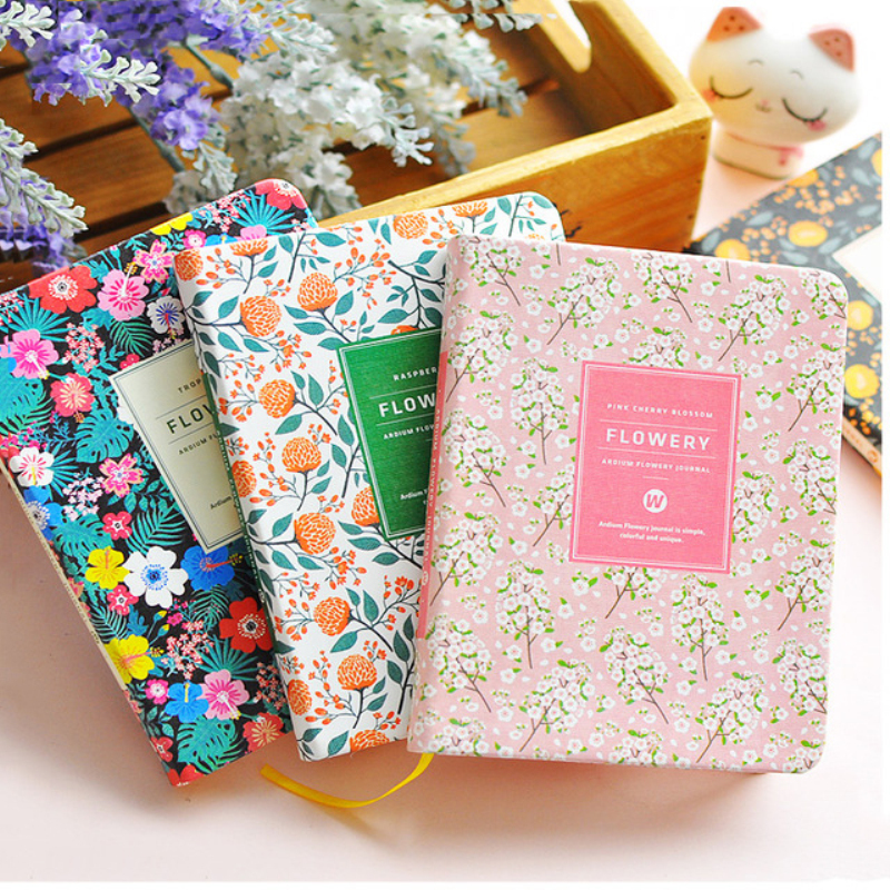 New Arrival Cute PU Leather Floral Flower Schedule Book Diary Weekly Planner Notebook School Office Supplies Kawaii Stationery(China (Mainland))