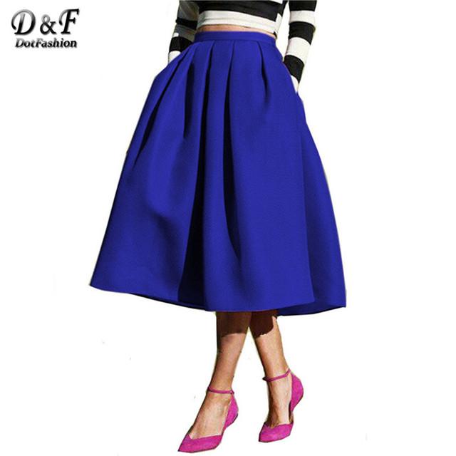 Dotfashion Женской Моды 2016 Street Style женская Твердые Повседневная Flare Высокая Талия Плиссированные Карманы Vintage Midi Юбка