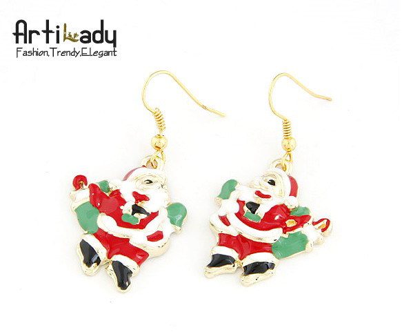 Artilady Christmas gift  jewelry bag free gold plating Santa Claus style earrings sweet earring for women 2013 fashion  jewelry