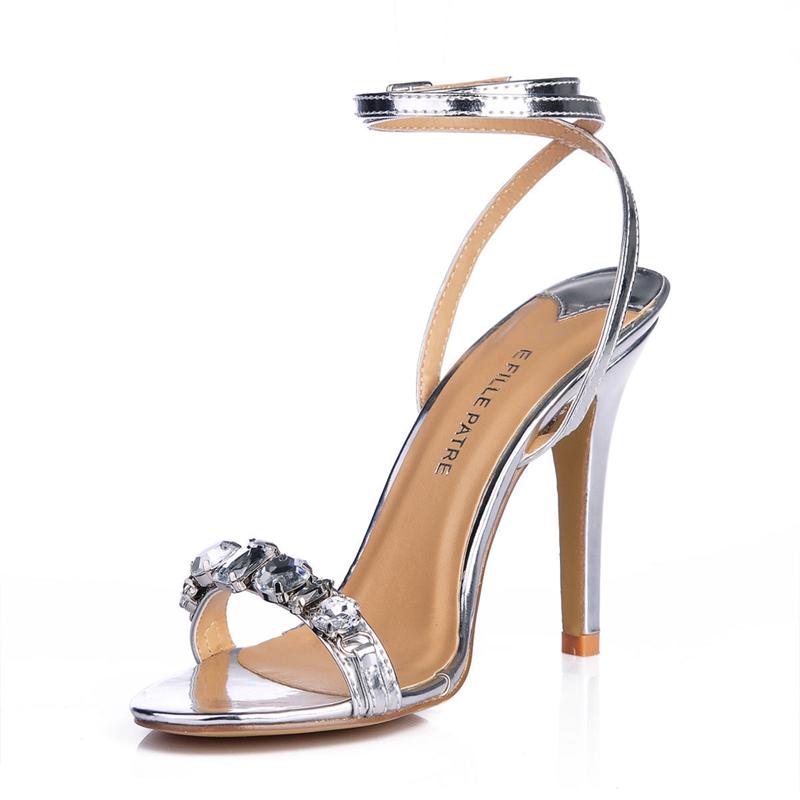 2016 Summer Rhinestone Sandals Open Toe 10 CM High Heels Sandals Plus Size 35-43 Diamond Ankle Strap Sandals For Wedding TA231(China (Mainland))