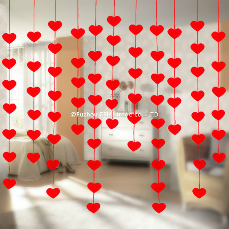 2M Romantic Wedding Decoration Marriage room Non-woven Garland Curtain 2016 Creative Love Heart Wedding Supplies 6ZJS052(China (Mainland))
