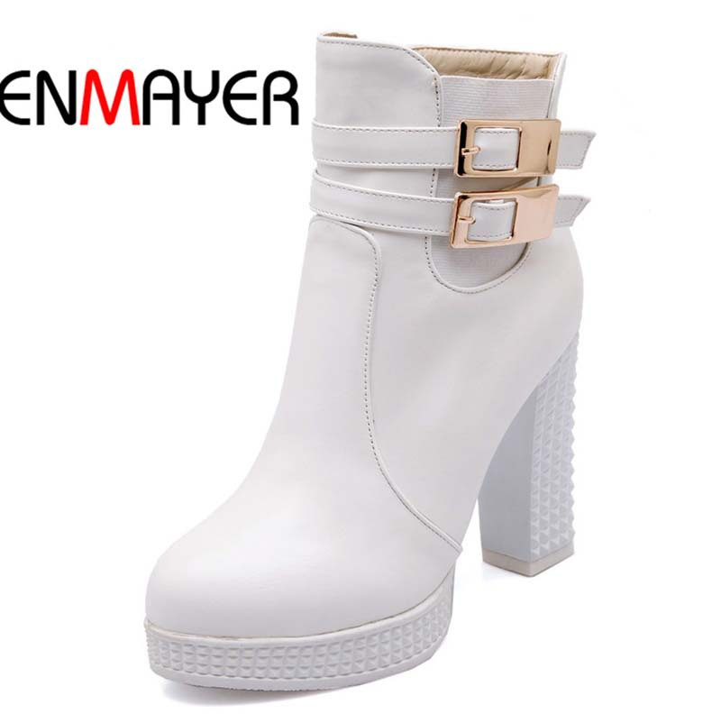 ENMAYER Ankle Boots For Women Big Size34-42 Square heel Buckle Round Toe High Martin boots shoes women hot!PU motorcycle winter <br><br>Aliexpress
