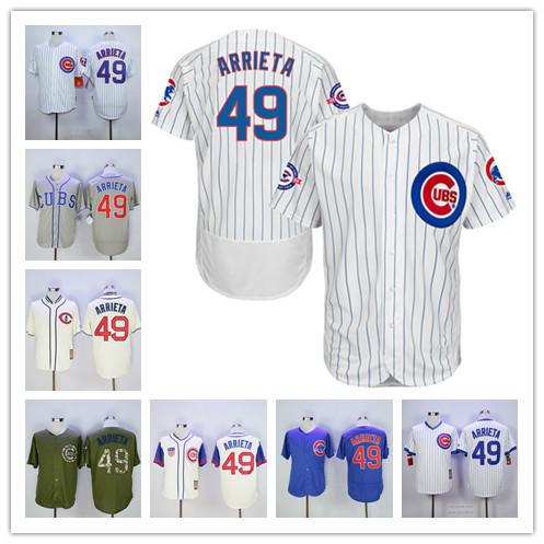 #49 Jake Arrieta Jersey White Blue Grey Green baseball Jerseys(China (Mainland))