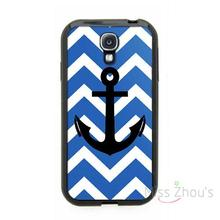 For iphone 4/4s 5/5s 5c SE 6/6s plus ipod touch 4/5/6 back skins mobile cellphone cases cover Blue Chevron Pattern Black Anchor