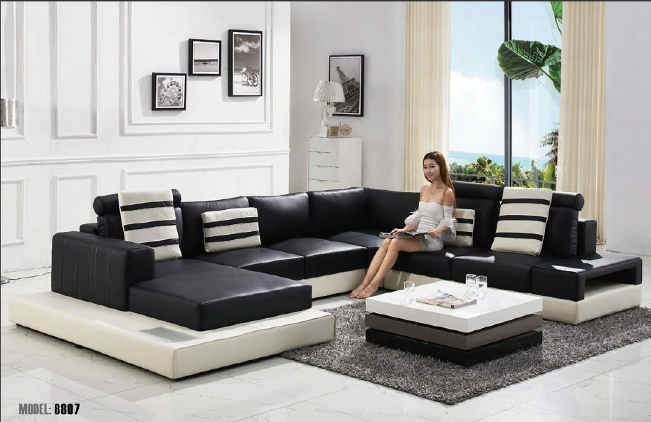 2015 modern u shape leather sofa living room sofa sofa for Salon u moderne