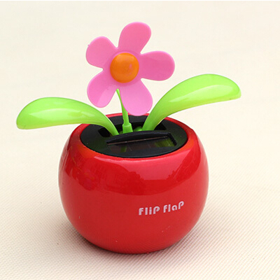 New car solar flower decorations powered flip flap flower dancing for home decorate auto toys #8090(China (Mainland))