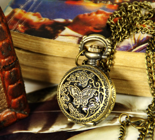 New trumpet flower butterfly pocket watch necklace retro sweater chain jewelry wholesale fashion pocket watch fashion watch(China (Mainland))