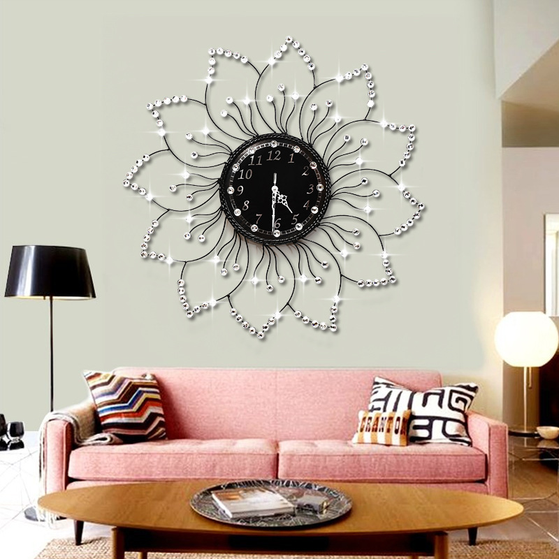 clocks wall clocks home decor the flowers of european modern fashion watch diamond watch iron. Black Bedroom Furniture Sets. Home Design Ideas