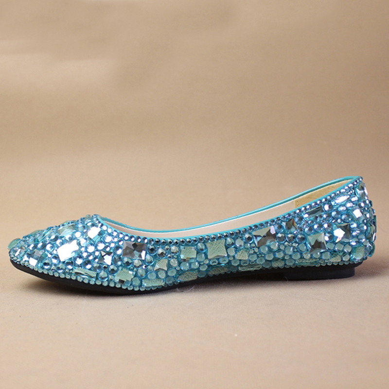 Shoes Jeweled Beaded Flat Heel Bridal Evening Prom Party Wedding