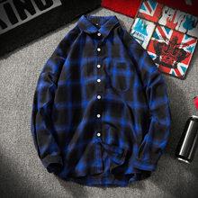 Мужская Ретро шотландская рубашка японская Толстовка Harajuku клетчатая рубашка красный/черный/зеленый/синий для мужчин и женщин хип-хоп одежд...(China)