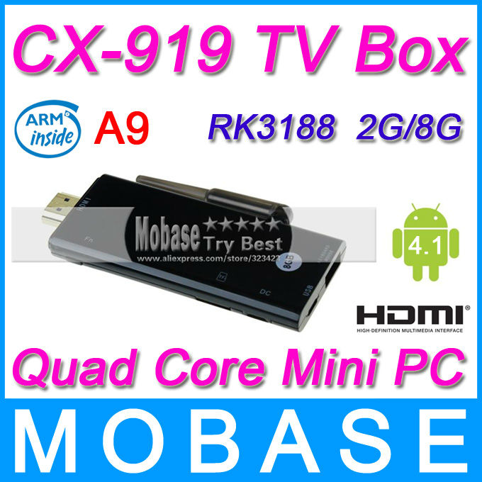 CX-919 Android 4.1.1 TV Box Antenna Quad Core Mini PC RK3188 Cortex A9 1.6Ghz 2G/8G Bluetooth HDMI WiFi Smart TV Receiver Black(China (Mainland))