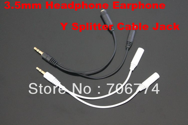 Wholesale 3.5MM Extension Earphone Headphone Audio Splitter Cable Adapter Male to 2 Female 30pcs/lot