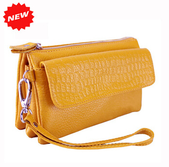 2015 women handbag female genuine leather clutch wristlet evening bags stone pattern cosmetic purse messenger bag YK80-231(China (Mainland))