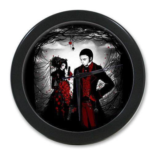 New Arrive Home Decoration Customized Gothic vampires wedding Elegant Wall Clock Modern Design Watch Wall Free Shipping