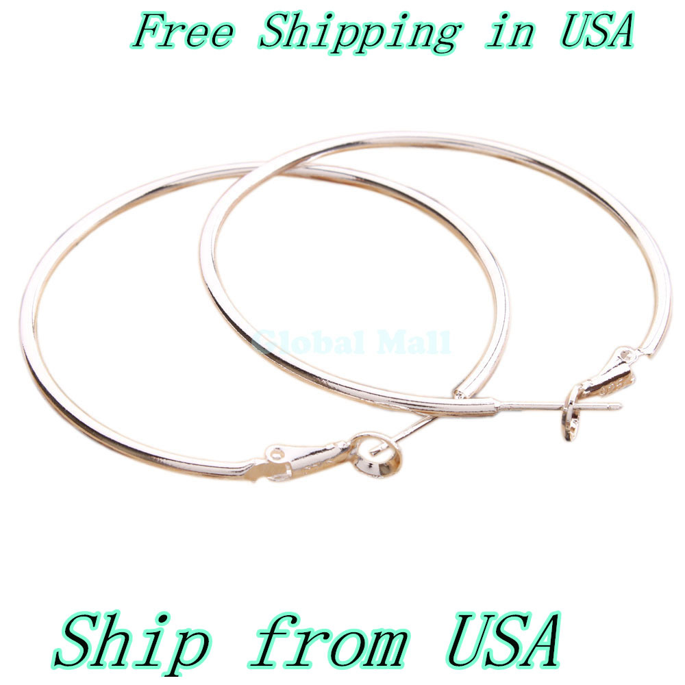 """ship from USA Promotion 1.6"""" Charming White Copper Silver Plated Smooth Hoop Earrings Hoop Earrings Earrings S01682 (China (Mainland))"""
