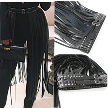 Buy Europe fashion Punk rivet wearing rope long tassel girdle female Black Leather Belt wild women High Waist belt Decorative for $16.66 in AliExpress store