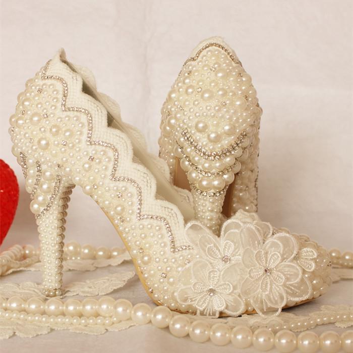 Здесь продается  Fashion luxury white formal dress lace shoes platform rhinestone wedding shoes  women pumps bride shoes high heels  Обувь