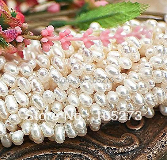 New Arriver Pearl Jewelry Natural Freshwater Pearls Off White 5-6mm Teardrop Drop Loose Beads 15inch/String New Free Shipping