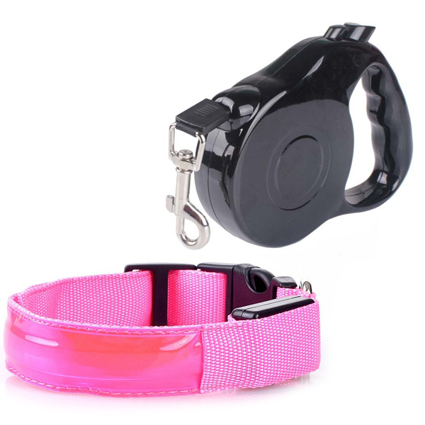Pet Products Dog Collar Mascotas Dog Leash for Dogs Coleira Para Cachorro Pet LED Pet Collar&Retractable Pet Leash Rope Leads(China (Mainland))