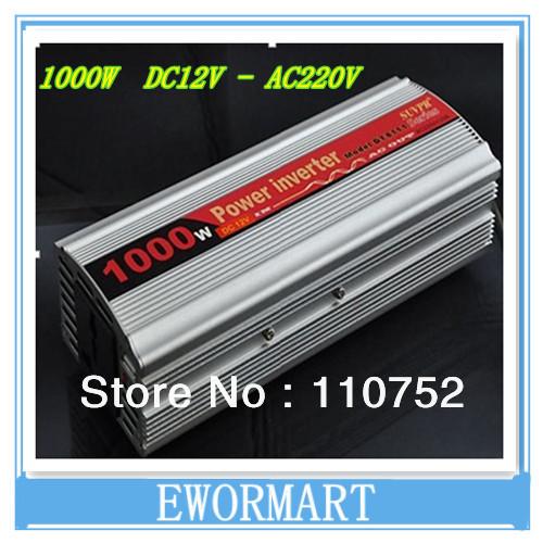 Wholesale 1000W 12V DC 220V AC Car Power Inverter Adapter + USB , free shippinrg(China (Mainland))