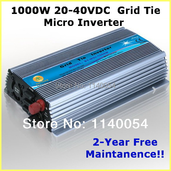 1000W Grid Tie Inverter MPPT Function, 20-40VDC Input to 110V/220VAC Pure Sine Wave Output Micro on grid tie inverter 1000W(China (Mainland))
