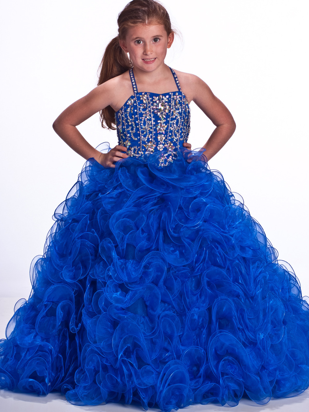 Blue flower girl dress for wedding kids princess dress new for 10 year old dresses for weddings
