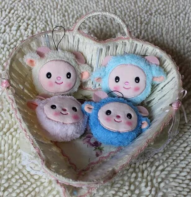 4pcs/lot Rose Sweet Lovely Sheep Pendant Kawaii Small Pendant,Soft Mini Dudu Sheep Pendant Plush Soft Toy Dolls Gift For Girls(China (Mainland))