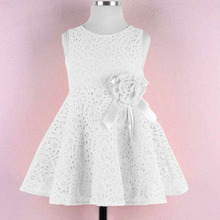 2016 Summer Girls Dress Elegant Princess Dress With Flower Fashion Lace Dress