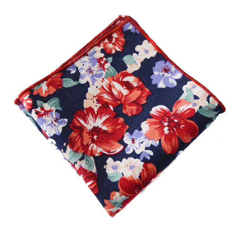 Hot New Brand Mens Handkerchiefs Wedding Printed Hanky Fashion Vintage Cotton Women Floral Pocket Square Hankies Chest Towel(China (Mainland))