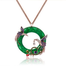 Genuine 18K Gold Plated Round The Phoenix Jade Necklace Pendant Costume Long Necklaces Jewelry for Women(China (Mainland))
