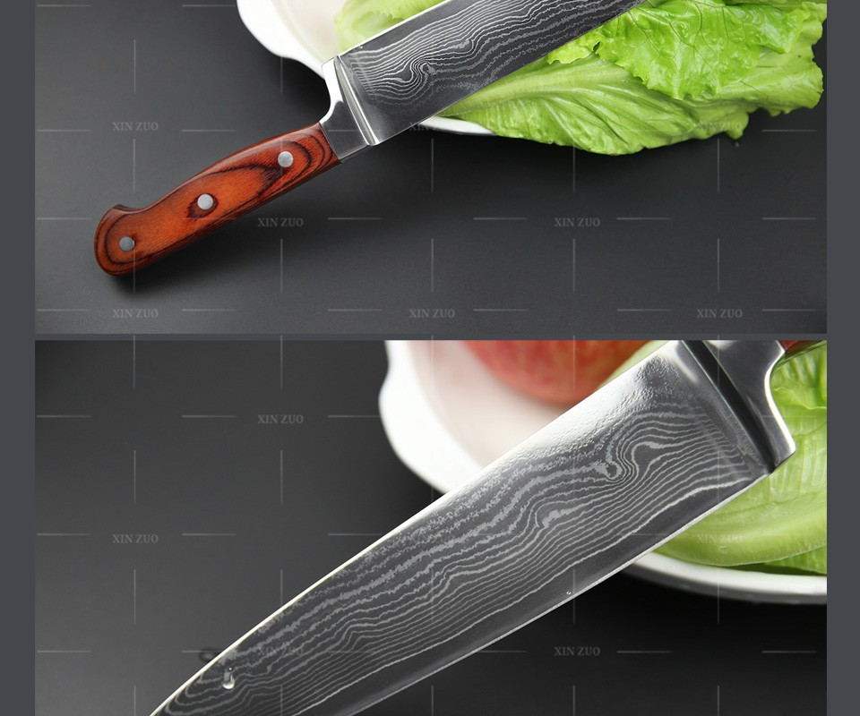 "Buy XINZUO  8"" inch chef knife 73 layers Japanese VG-10 Damascus steel kitchen knife High quality Color wood handle free Shipping cheap"