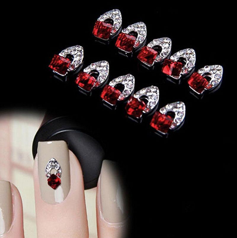 New Charming 10Pcs 3D Nail Art Red Crystal Alloy DIY Decoration Tips Rhinestones For Nails Free Shipping NA703(China (Mainland))