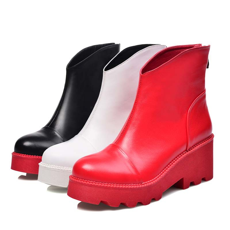 Фотография ENMAYER Black White Red Ankle Boots Sexy Fashion High Quality Round Toe Genuine LeatherWomen Boots Shoes Winter Motorcycle Boots