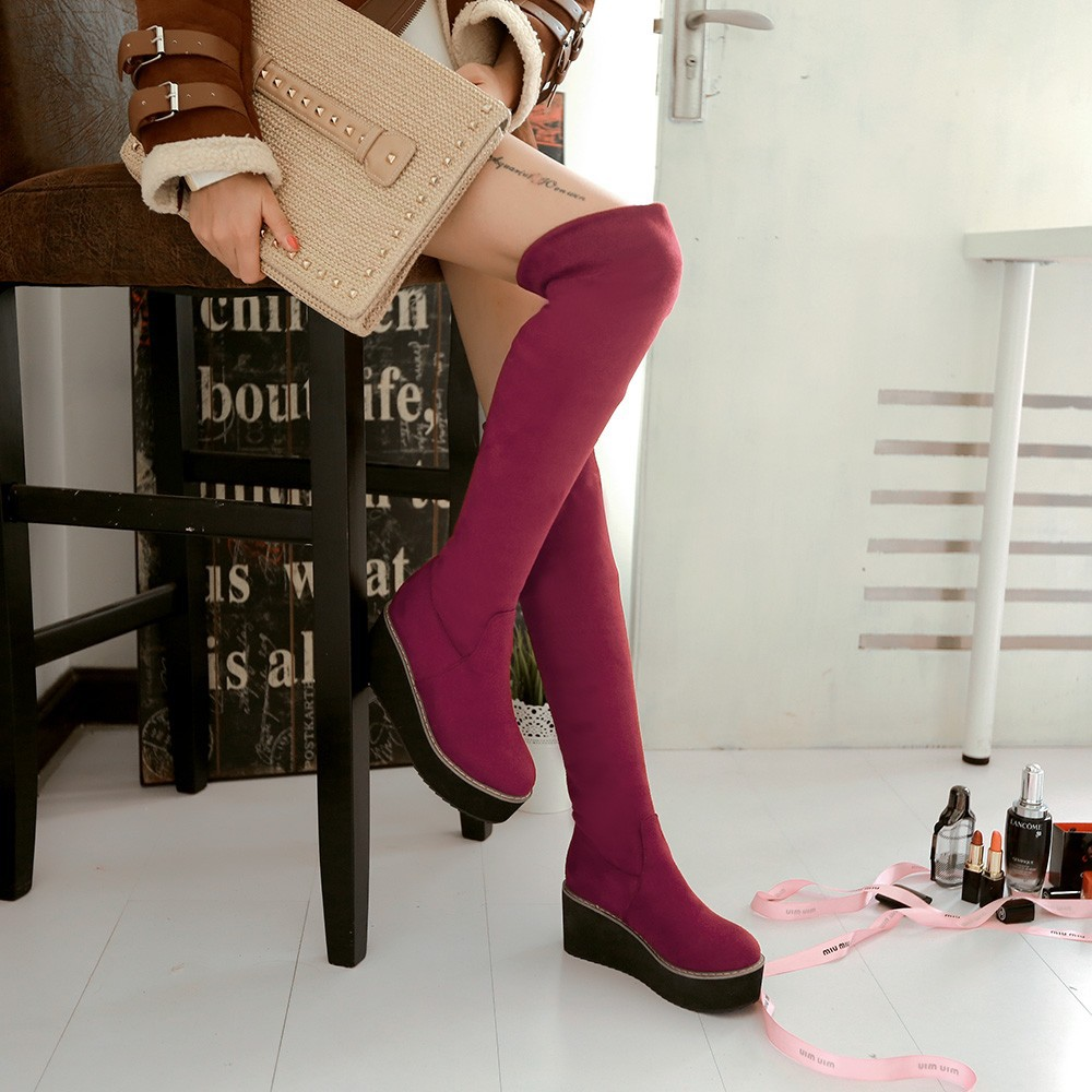 Stretch Nubuck&PU Black Red Blue Wedge Platform Women Thigh High