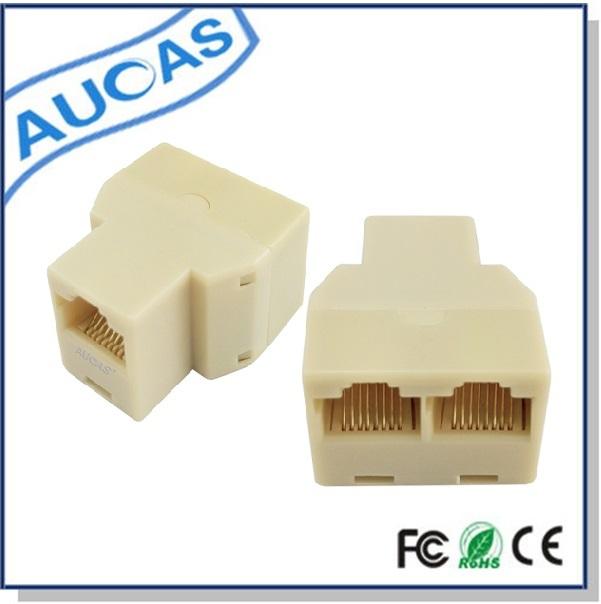 AUCAS 30PCS RJ45 Splitter Modular adapter (3 ways) LAN Ethernet Connector Adapter 8P8C Network modular plug Free Shipping(China (Mainland))