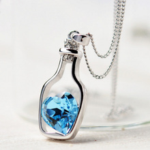 Buy 2016 New Design High Lowest Price Women Necklace Fashion Popular Love Drift Bottles Blue Heart Crystal Pendant Necklace for $1.00 in AliExpress store