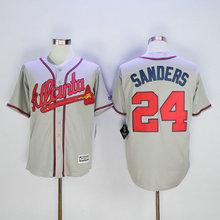 Deion Sanders 24 Atlanta Braves New Fabric Embroidered Logos Baseball Men's Jerseys Discount Jersey(China (Mainland))