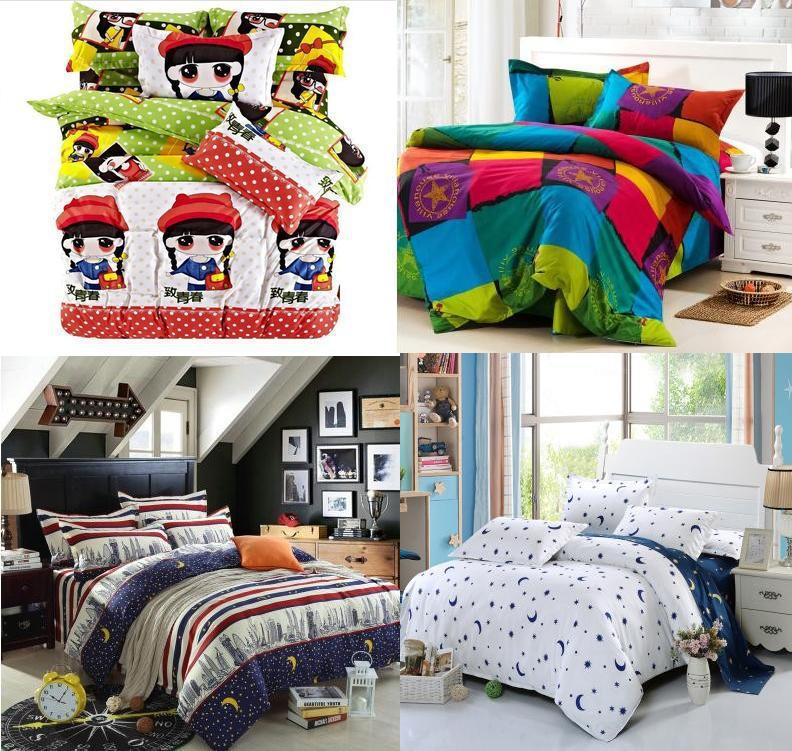 Trade Home textile,Fashion Reactive Print 4 Pcs bedding sets luxury bed linen include Duvet Cover + Bed sheet + Pillowcase(China (Mainland))