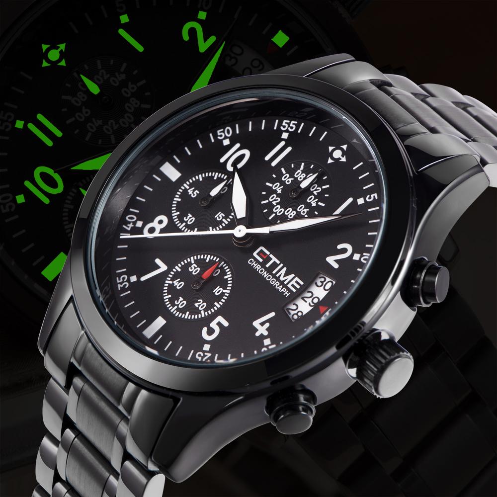 CTIME Fashion Mens Quartz Watches Top Brand Luxury Men Military Wrist Watch Full Steel Sports Watch Waterproof Relogio Masculino(China (Mainland))