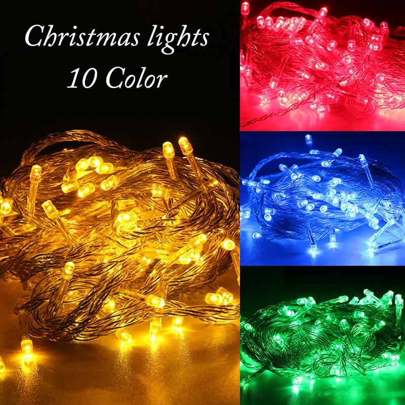 String Light Wedding Party Decoration Lights Free shipping 100 LED 10M Lighting AC 110V 220V ...